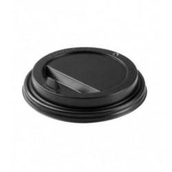 Крышка для стакана черная с клапаном диаметр 90мм