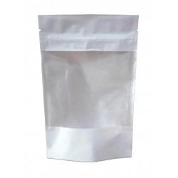Пакет дой-пак бумажный Белый с прозрачным окошком с замком зип-лок 105x185