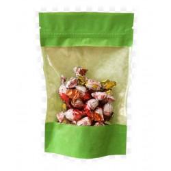 Пакет дой-пак бумажный крафт Зеленый с прозрачным окошком с замком зип-лок 110x185