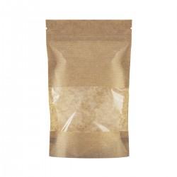 Пакет дой-пак бумажный крафт с прозрачным окошком 70 мм с замком зип-лок 105х15