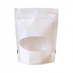 Пакет дой пак белый матовый с прозрачным овальным окошком и с замком зип-лок 105х190