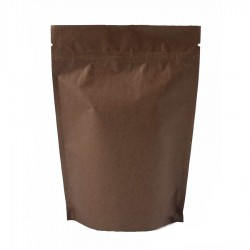 Пакет дой-пак бумажный крафт с замком зип-лок Темно-Коричневый 105х150