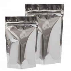 Пакет дой-пак 80х120 металлизированный белый матовый с замком зип-лок