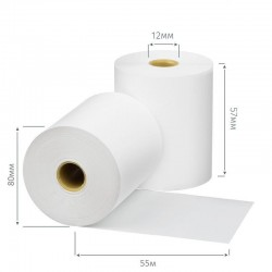 Чековая лента из термобумаги 80 мм, диаметр 80 мм, намотка 55 м