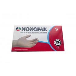 Перчатки латексные Monopak, белые S 100шт