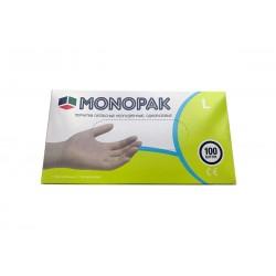 Перчатки латексные Monopak, белые L 100шт