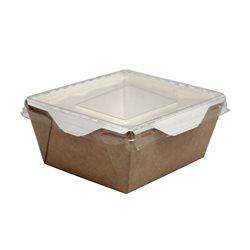 Бумажный контейнер с прозрачной крышкой 350мл