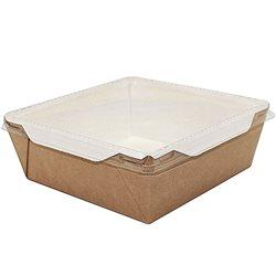 Бумажный контейнер с прозрачной крышкой 900мл